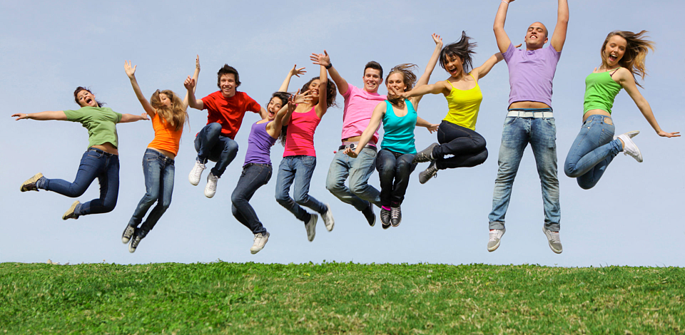 a group of people jumping